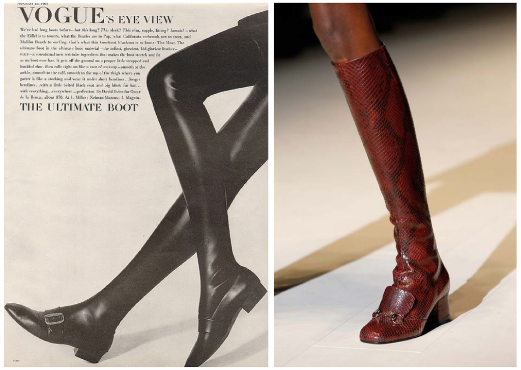 left: Tigh high boots by David Evins for Oscar de la Renta, US VOGUE 15thAug 1967; right: Gucci fall 2014 @style.com