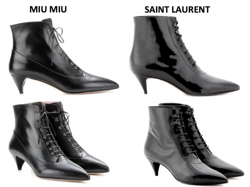 photos @mytheresa, MiuMiu 650,00EURO, Saint Laurent Catboot 595,00EURO