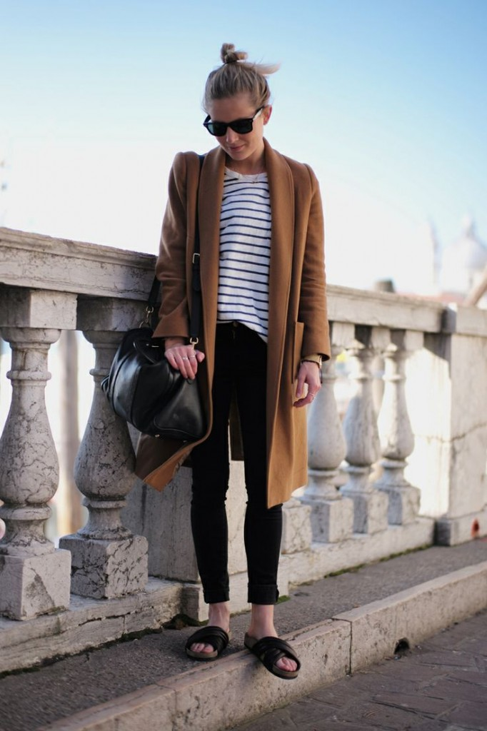 51b1eb85d093 H M criss-cross sandals with black skinnies and a camel coat – Super chic  as well! photo http   french-voguettes.tumblr.com post 79673648654