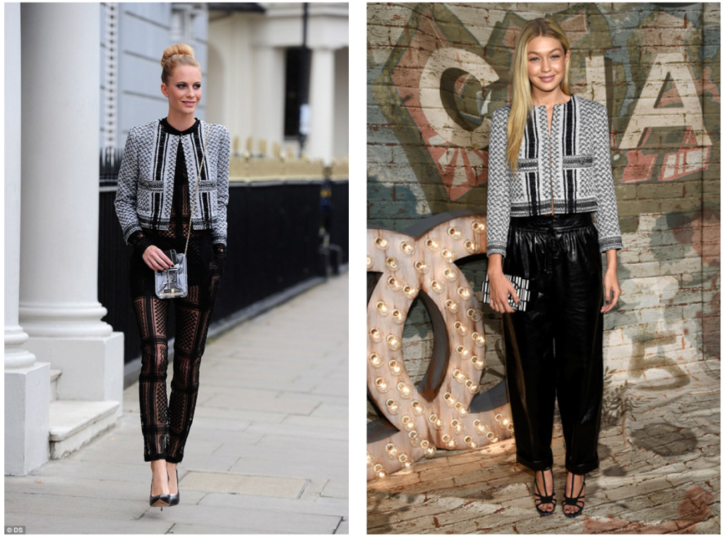 black-and -white keffiyeh tweed and sequined Chanel cruise jacket
